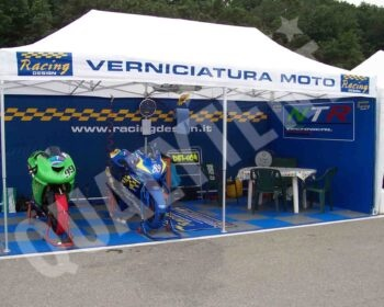 Tenda 6×3 dobrável Qualytent, tenda personalizada Racing Design