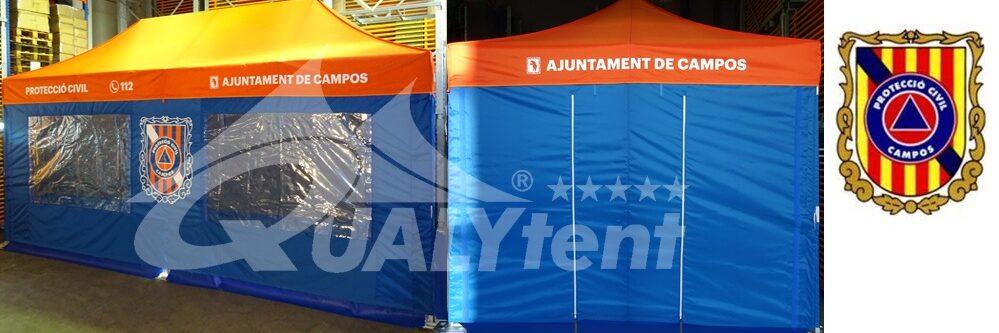 Tenda dobrável Premium 4,5x3m, tenda personalizada Campos Proteção Civil