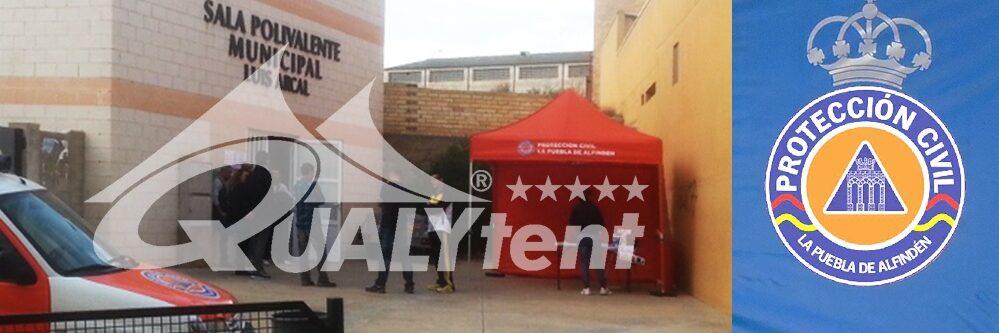 Tenda dobrável de 3x3m, Tenda de Proteção Civil La Puebla de Alfindén