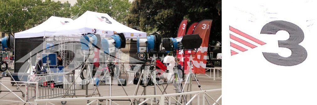 Tendas dobráveis 6x4 com impressão digital completa para Tv3