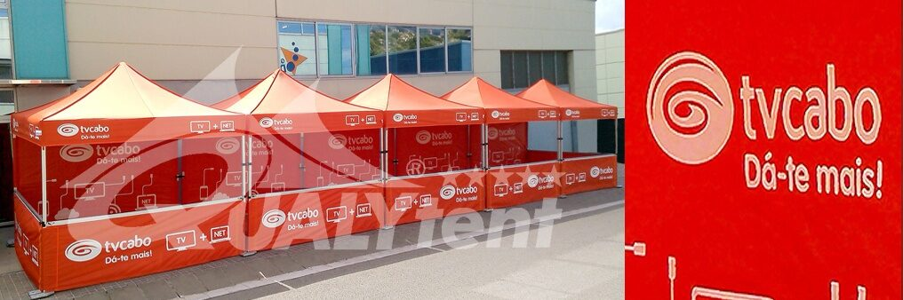 Tendas dobráveis Premium 3x3m personalizadas para TV Cabo