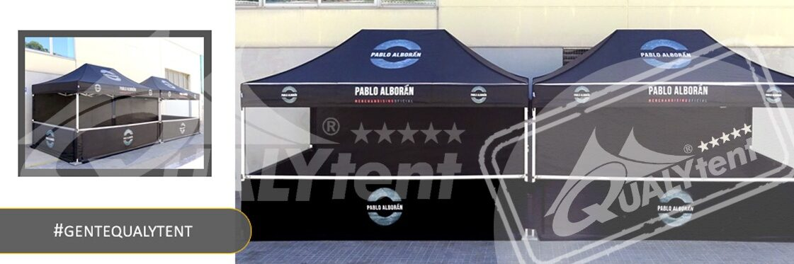 Tendas dobráveis Qualytent 4,5x3m personalizadas Pablo Alborán