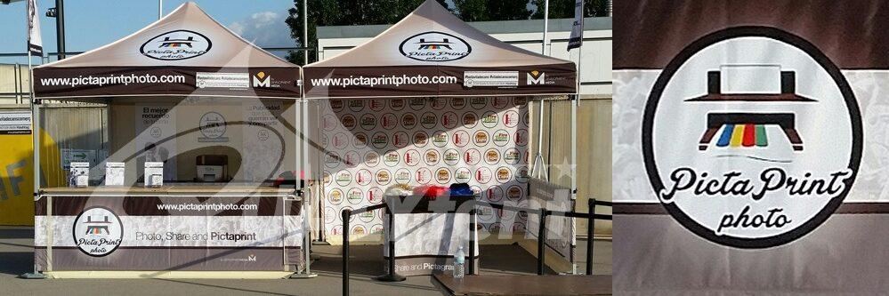 Tendas dobráveis com balcão, tendas Pictaprint com impressão completa personalizada