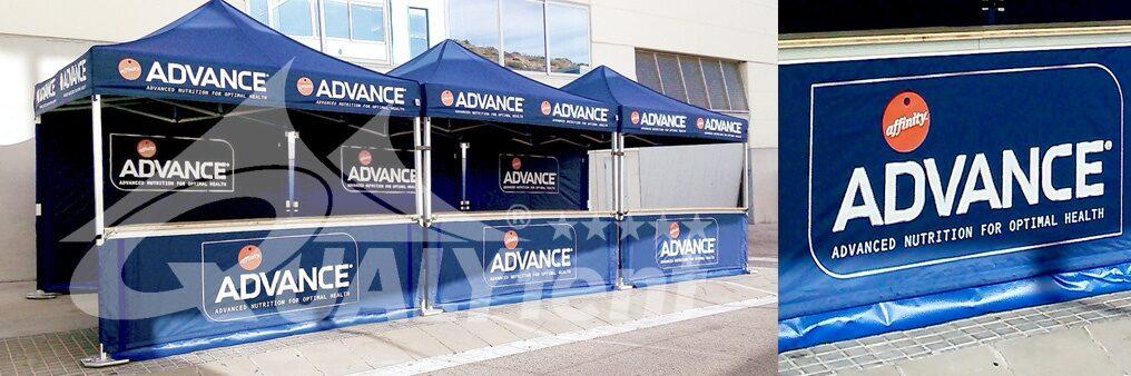 Tendas dobráveis com impressão completa full print para Affinity Advance