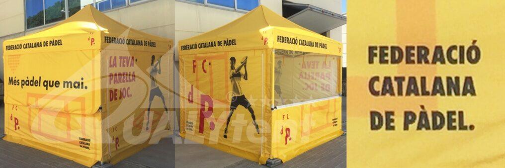 Tendas dobráveis de 3x3m com impressão completa para a Federação Catalã de Padel