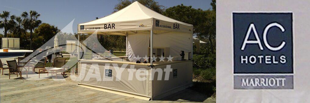 Tendas dobráveis de 3x3m para AC Hotels, tendas con balcão