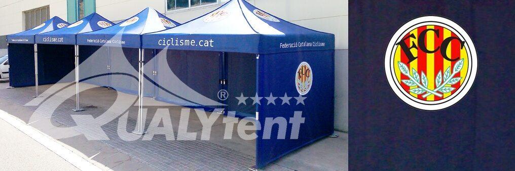 Tendas dobráveis personalizadas de 3 x 3 m para a Federação Catalã de Ciclismo