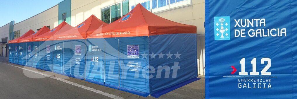 Tendas dobráveis personalizadas para a Xunta de Galicia, posto de comando avançado