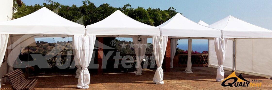 Tendas dobráveis Qualytent, montagem modular 12x3m