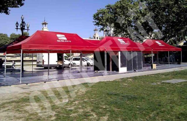 Tendas dobráveis de cor vermelha para feiras da Qualytent