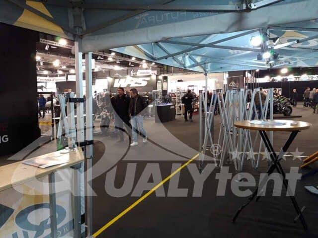 Expositores na Motor Bike, tendas dobráveis full print de qualidade