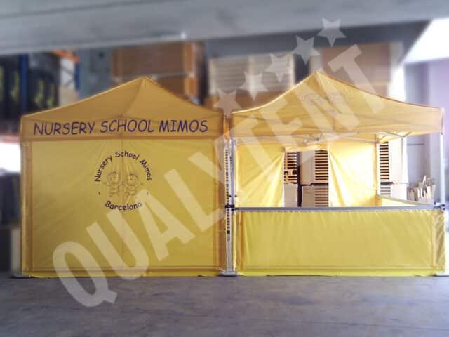 Tendas dobráveis amarelas de 3x3m QT S-45 Premium rotuladas